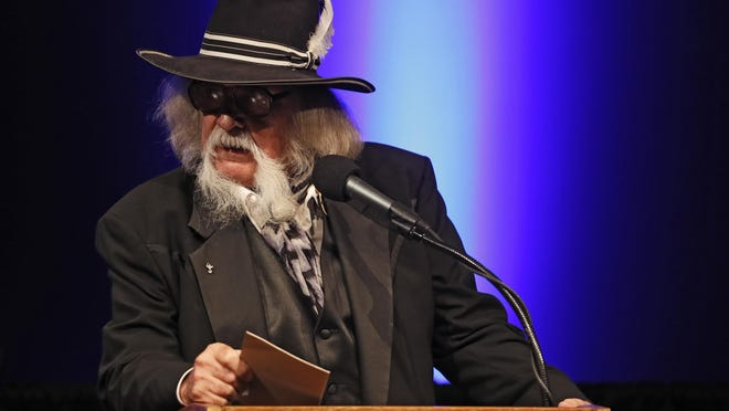 Larry Trider, country musician, talks to the crowd during the West Texas Walk of Fame induction ceremony, Thursday, Sept. 19, 2019, at Lubbock Memorial Civic Center in Lubbock, Texas. Susan Graham, David Kneupper, Romeo Reyna and Larry Trider were the 2019 inductees in the Walk of Fame.