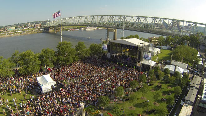 An aerial photo taken during during Paramore's set Saturday at the Bunbury Music Festival.