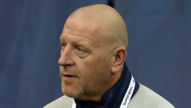 Seattle Seahawks offensive line and assistant head coach Tom Cable during Media Day for Super Bowl XLIII at Prudential Center.
