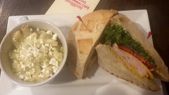 The SFO sandwich from The Terminal Cafe: smoked turkey, avocado, kale, red onion, tomato and Tillamook cheddar on a San Francisco-style sourdough boule.