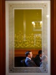 Senate Majority leader Bill Dix (R-Shell Rock) listens