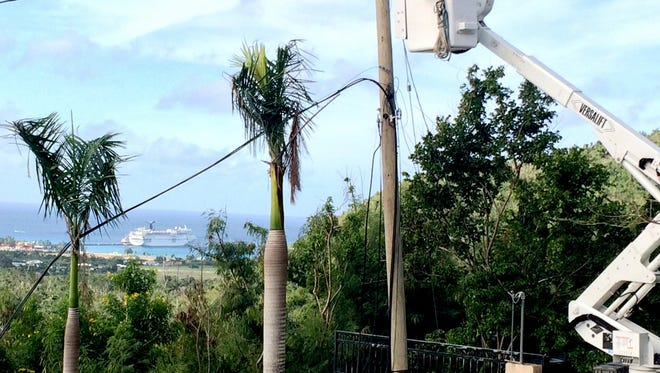 Line workers from the Two Rivers electric utility recently returned from a mutual aid mission in the U.S. Virgin Islands, where they assisted in restoring electric services wiped out by hurricanes Irma and Maria in fall 2017.