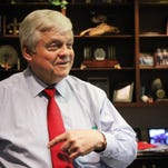 Richard Zuschlag, Chairman and CEO of Acadian Ambulance Service, speaks to The Advertiser Tuesday, April 28, 2015, at his office in Lafayette, La.