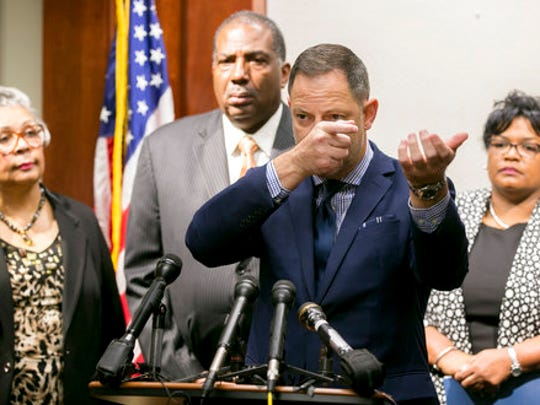 State Rep. Rafael Anchia, D-Dallas speaks at a news conference at the Supreme Court Building in Austin, Texas, on Thursday, May 4, 2017, about the shooting of Jordan Edwards in Balch Springs, Texas. Listening are, left to right, state Rep. Senfronia Thompson, D-Houston, Sen. Royce West, D-Dallas, and state Rep. Toni Rose, D-Dallas.