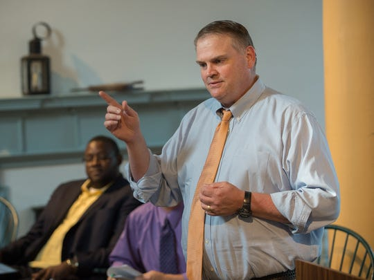 Colin Bonini, the Republican running for Delaware governor, addresses the Delaware Arts Alliance at the Old State House in Dover on Sept. 8. He argues the education plan of his Democratic opponent, John Carney, is too much like the status quo.