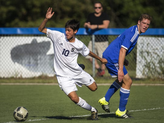 Gavin Ford (10) is among the leaders for Salesianum,