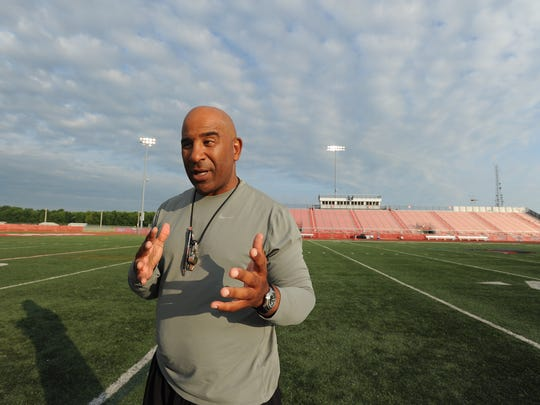 Head football coach, Kenny Carter, after morning football practice at Delaware State University in Dover, Del.