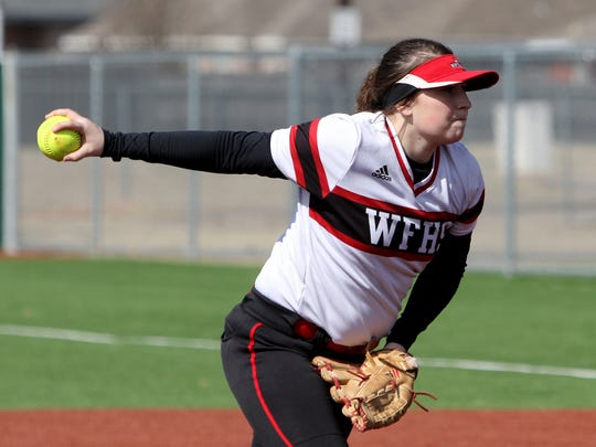 Wichita Falls High School's Tiffany Tate pitches against Vernon Thursday, March 1, 2018, at Sunrise Optimist Softball Complex. The Lions defeated the Lady Coyotes 1-0.