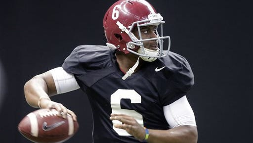 Alabama quarterback Blake Sims (6) drops back to pass during practice at the Mercedes-Benz Superdome in New Orleans, Monday, Dec. 29, 2014. They will square off against Ohio State in the Allstate Sugar Bowl NCAA football game, which will be played Jan. 1, 2015.