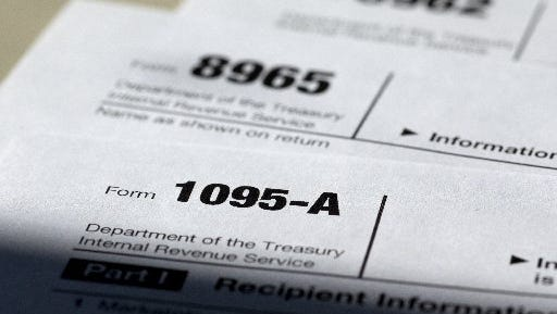 Federal health care tax forms.
