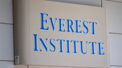 FILE - This July 8, 2014 file photo shows an Everest Institute sign on an office building in Silver Spring, Md. In the two decades since trade schools started popping up on U.S. stock exchanges to maximize profits, allegations of misconduct have been rampant. On July 1, 2015, new rules go into effect for any school with a career-training program. The Education Department estimates it loaned some $3.6 billion in the past five years to Corinthian students before the government forced it to sell or close its campuses.  (AP Photo/Jose Luis Magana, File)