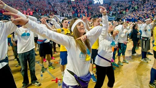 "Independent dancers Meaghan Rybaltowski and Rachel Carl learn the line dance during the annual 46-hour dance marathon best known as ""Thon""  Friday, Feb. 19, 2016 in the Bryce Jordan Center in State College, Pa."
