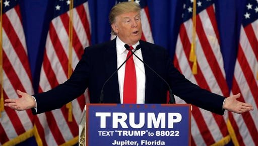 Republican presidential candidate Donald Trump speaks during a news conference at the Trump National Golf Club, Tuesday, March 8, 2016, in Jupiter, Fla. (AP Photo/Lynne Sladky)