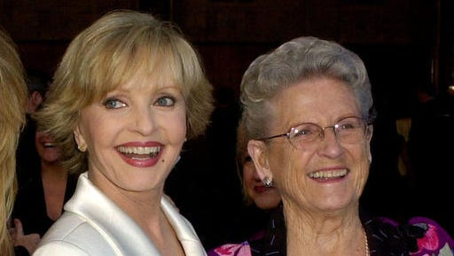 """FILE - In this March 16, 2003 file photo, """"The Brady Bunch"""" cast members Florence Henderson, left, appears with Ann B. Davis at ABC's 50th Anniversary Celebration in Los Angeles. Henderson, who went from Broadway star to become one of America's most beloved television moms, died, Thursday, Nov. 24, 2016, in Los Angeles. She was 82. Davis, who became the country's favorite and most famous housekeeper, died in 2014 at 88."""