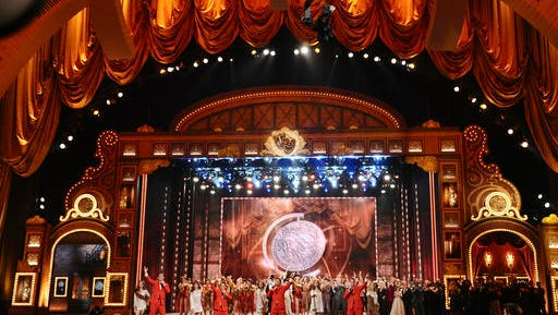 "FILE - In this June 7, 2015 file photo, the cast of ""Jersey Boys"" performs at the 69th annual Tony Awards at Radio City Music Hall in New York. The American Theatre Wing and The Broadway League said Thursday, Jan. 12, 2017, that the telecast on June 11 will originate from the 6,000-seat Radio City Music Hall, the show's long preferred home because of its size and proximity to Broadway."