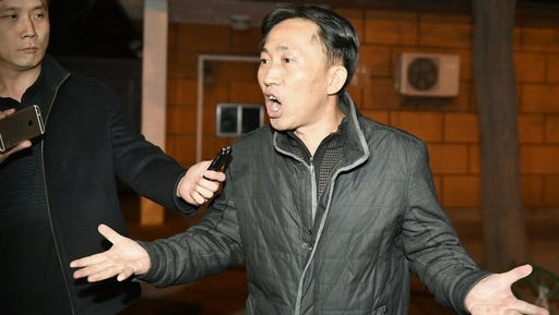 North Korean Ri Jong Chol speaks in front of reporters at the North Korean Embassy in Beijing early Saturday, March 4, 2017. Malaysian authorities on Friday deported the only North Korean detained in the killing of the half brother of North Korea's leader after releasing him because of a lack of evidence to charge him.
