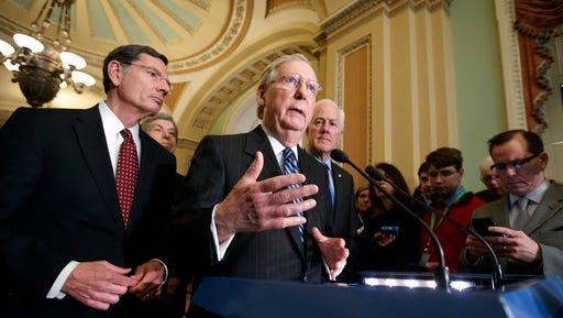 Senate Majority Leader Mitch McConnell, R-Ky., joined by, from left, Sen. John Barrasso, R-Wyo., Sen. Roy Blunt, R-Mo., and Majority Whip John Cornyn, R-Texas, speaks with reporters at the Capitol in Washington, Tuesday, March, 14, 2017. The White House and Republican leaders in Congress are scrambling to shore up support for their health care bill after findings from the Congressional Budget Office estimated that 14 million people would lose insurance coverage in the first year alone under the GOP replacement for Obamacare.