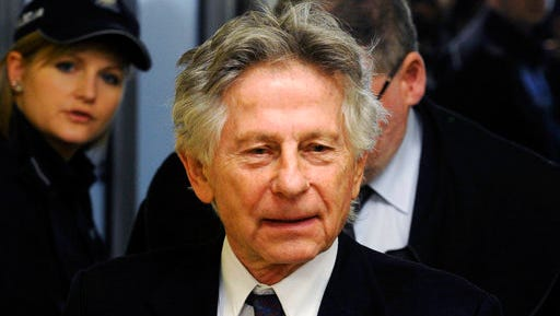 FILE - This Feb. 25, 2015 file photo shows filmmaker Roman Polanski during a break in a hearing concerning a U.S. request for his extradition over 1977 charges of sex with a minor, in Krakow, Poland. A Los Angeles judge on Monday, April 3, 2017 rejected a request by Polanski to end his 40-year-old case for unlawful sex with a minor without the director's presence in court, as well as other request that would draw the case to a close.