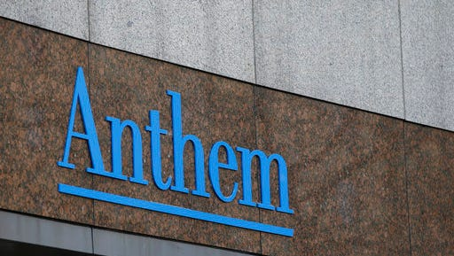 FILE - This Wednesday, Dec. 3, 2014, file photo shows the Anthem logo at the company's corporate headquarters in Indianapolis. Health insurers are pressing President Donald Trump and Congress to guarantee a crucial customer subsidy for the Affordable Care Act's shaky insurance exchanges, and one of the biggest carriers has thrown in its participation as bargaining chip. Blue Cross-Blue Shield insurer Anthem said Wednesday, April 26, 2017, that it's planning to return in 2018, but that could change if it doesn't know for certain by early June that the government will fund cost-sharing subsidies next year.