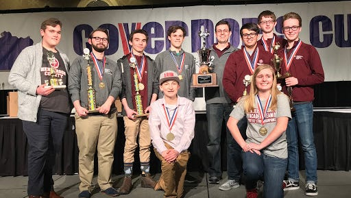 The Henderson County High School academic team finished as runners-up to Russell High School at the Governor's Cup state championship in Louisville Monday. Members of the team are, from left, DJ Banks, Andrew Sauls, Harrison Jenkins, Luke Payne (kneeling), Alex Chandler, Head Coach Brian Sullivan, Zachary Beickman, Riley Lovell (kneeling), Logain North and Cole Privette