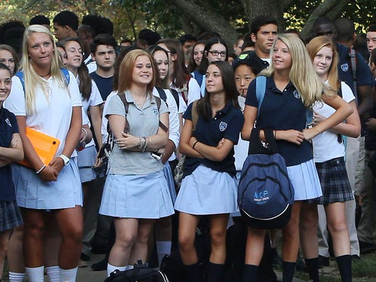 High School students at Mater Dei Prep are back in