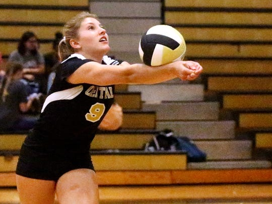 Central's Kendell Hughes battles during a recent match. Hughes came up big in a 3-2 win over Lawrence County Tuesday.