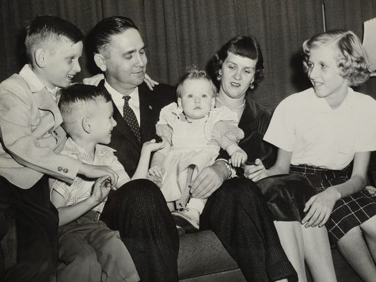 In a December 1955 photograph, John J. Duncan Sr. and his wife, Lois, with children John Jr., Joe, Becky, and Beverly. Duncan was assistant attorney general of Knox County at the time.(KNS Archive)