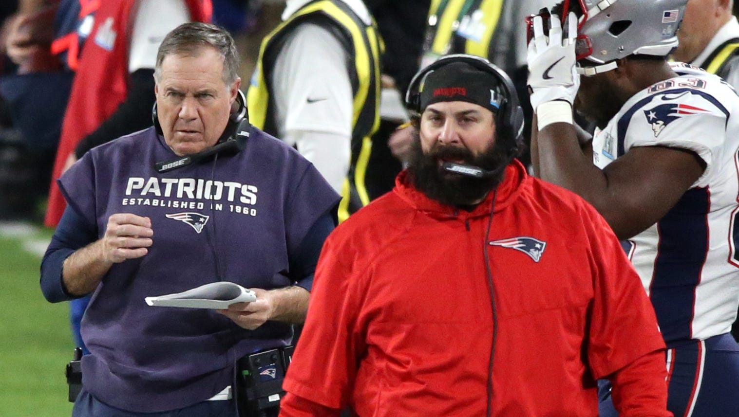 Matt Patricia (right) and Bill Belichick during the third quarter of the Patriots' 41-33 loss to the Eagles in Super Bowl LII at U.S. Bank Stadium on Sunday, Feb. 4, 2018.