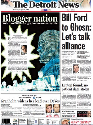 The front page of The Detroit News on August 24, 2006.