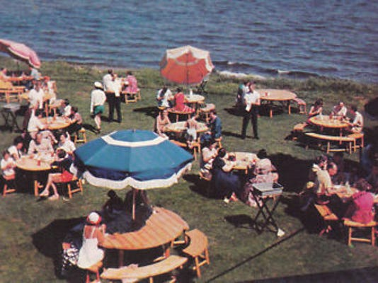 "This ""chrome"" shot of Brainerd, courtesy of Mary L. Martin Postcards, shows the Breezy Point Lodge Buffet. Chrome cards were first produced in the 1950s, and are known for a shinier finish. (www.marylmartin.com)"