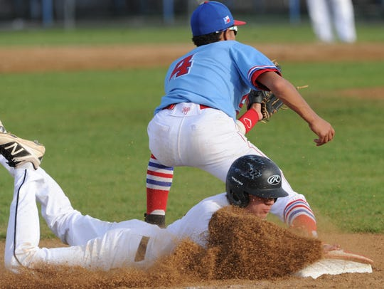 Aledo's Logan Lopez steals third in the sixth inning