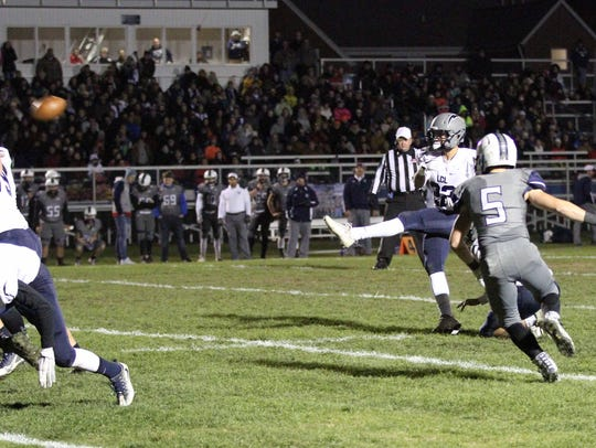 Matt Reilly of Lake Country Lutheran kicked the game-winning field goal with less than eight seconds left against Clinton in Level 3 of the Division 5 playoffs on Nov. 3.