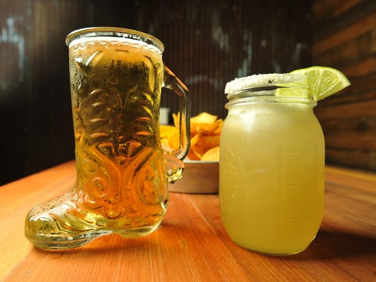 A mug of beer and a house Margarita made with fresh-squeezed sour mix at Bakersfield restaurant at 334 Massachusetts Ave.