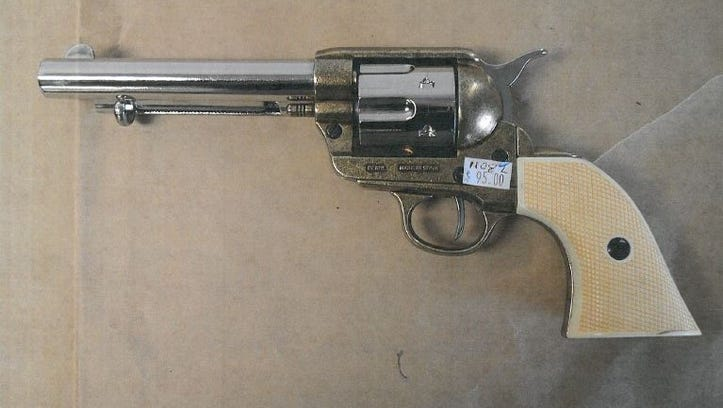 Witnesses said that Donald Miller, 39, had pointed this replica gun at people in the Portola Plaza area shortly before the shooting.