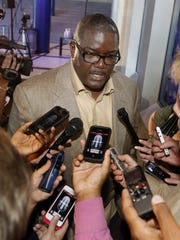 Detroit Pistons president Joe Dumars answers questions at the Palace of Auburn Hills on July 16, 2013.
