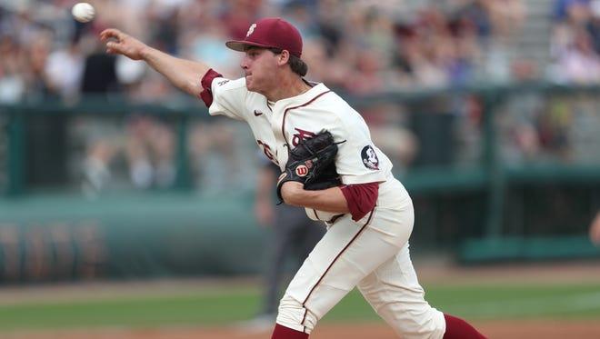 FSU's Cole Sands pitches against Xavier on Saturday at Dick Howser Stadium.