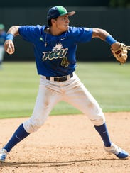 Florida Gulf Coast's Richie Garcia throws to first during an NCAA baseball tournament regional game against North Carolina in Chapel Hill, N.C. on Sunday, Jun. 4, 2017. Garcia could be swayed to leave college depending on his Major League Baseball draft status.