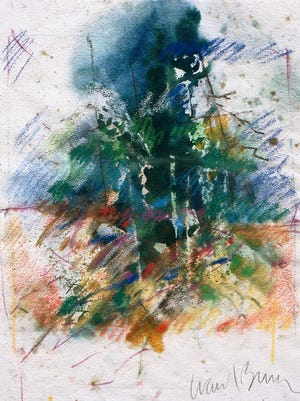 """""""Forest Glen,"""" an abstract mixed-media piece from 1990, is among the works by W. Carl Burger included in the exhibit """"Spheres of Influence.""""  About 40 lesser-known pieces by 92-year-old artist W. Carl Burger are on display at the Morris Museum now through August 18."""