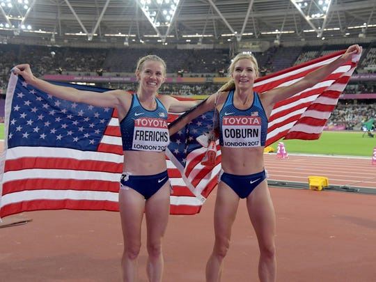 Emma Coburn and Courtney Frerichs take a victory lap with United States flags after placing first and second in the women's steeplechase during the IAAF World Championships in Athletics at London Stadium at Queen Elizabeth Park in 2017.