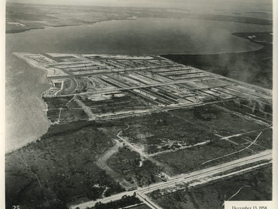 This aerial photo shows Cape Coral in 1958.