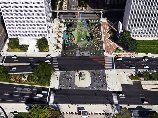 Rendering provided by the City of Detroit shows plans to convert the intersection of Woodward Avenue at Jefferson into a pedestrian plaza closed to motor vehicles. Work will begin June 8, 2017 and it will open on June 12, 2017. The plaza is planned as a temporary installation but there is no timetable for removing it.