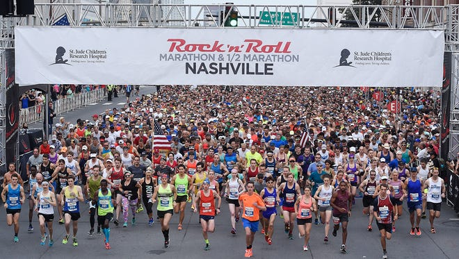 Runners begin the race at 8th Ave. and Broadway for the 2017 St. Jude Rock 'N' Roll Nashville Marathon on Saturday, April 29, 2017.