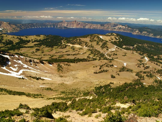 The trail up Mount Scott, the highest mountain in Crater Lake National Park, offers spectacular views of the lake and a small lookout at the top.
