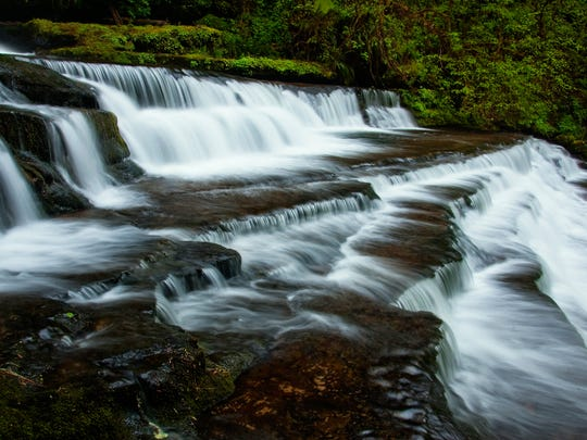 The Devil's Staircase, a multi-tiered waterfall in a remote valley in the Coast Range east of Reedsport.