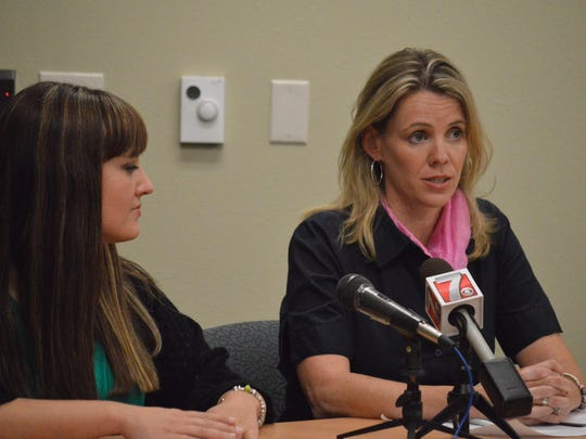 Tommi Thompson, right, executive director of the Wisconsin Women's Health Foundation, spoke at a press conference for the roll out of the Centers For Disease Control's 2014 Tips From Former Smokers ad campaign. Amanda Brenden, 30, of Eau Claire, left, is featured in one of the ads.