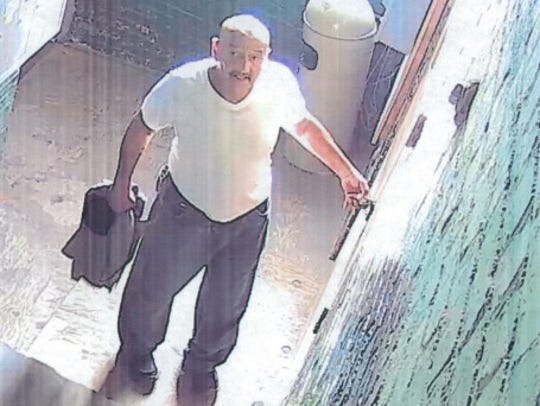 Security cameras took footage of the men taking a grinder