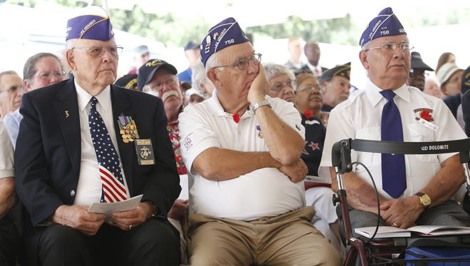 Veterans listen to the keynote address of Secretary of Veteran Affairs Robert McDonald as he speaks at the groundbreaking ceremony for the Tallahassee National Cemetery in May.