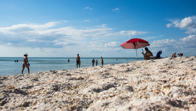Shells fill the sand at Vanderbilt Beach on Saturday, Sept. 16, 2017, six days after Hurricane Irma.