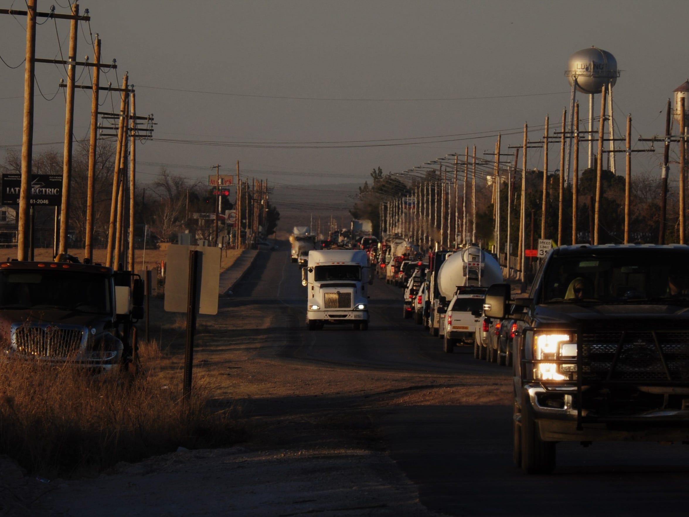 Traffic on U.S. Highway 285 Feb. 8 near Loving, New