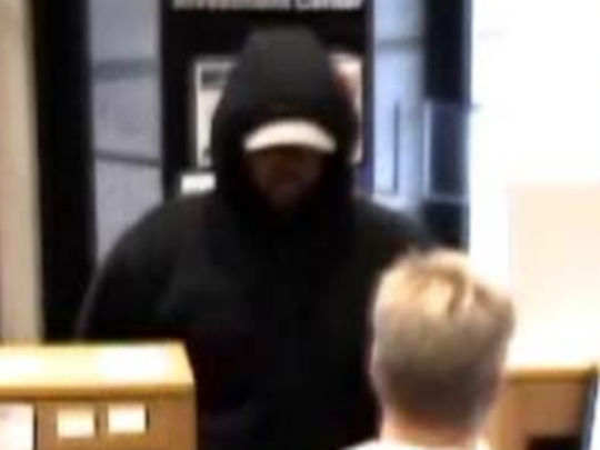 Surveillance video shows the bank robber who demanded money from a teller at Old National Bank, Greenfield, Wednesday, Oct. 11.